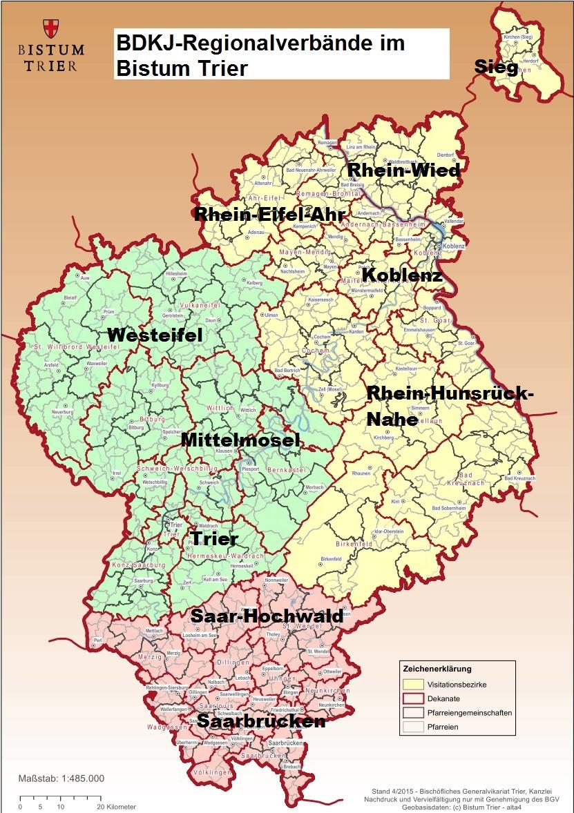 Bistum Trier Karte.Regionalverbände Bund Der Deutschen Katholischen Jugend Trier